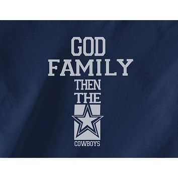 Navy Custom 1 Color God Family then the Dallas Cowboys Football Tee Tshirt T-Shirt