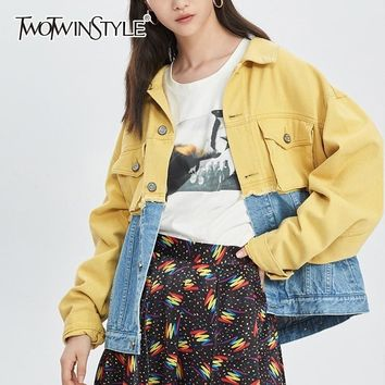 TWOTWINSTYLE Patchwork Denim Jacket For Women Lapel Long Sleeve Single Breasted Hit Color Vintage Female Jackets Fashion New