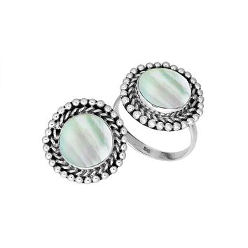 AR-6211-MOP-7'' Sterling Silver Round Shape Ring With Mother Of Pearl