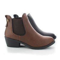 Chelsea Almond Toe Women's Chelsea Stacked Heel Ankle Boots