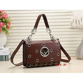 FENDI Popular Women Shopping Leather Velvet Handbag Shoulder Bag Crossbody Satchel Coffee