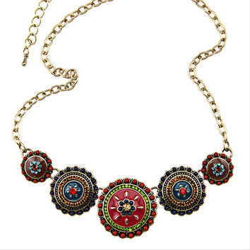 Collares Fashion 2016 Hot Sale Women Bohemia Style Enamel Beads Flowers Choker Chains Statement Necklace Ethnic Vintage Jewelry