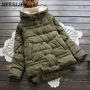 Mferlier Woman Coat Of Winter Hooded Double Breasted Long Sleeve Army Green Black Khaki Warm Chic Mori Girl Parkas