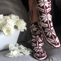 Snow Pattern ,Comfy ,Burgundy ,Warm Slippers ,Valentines Day ,Women Slippers