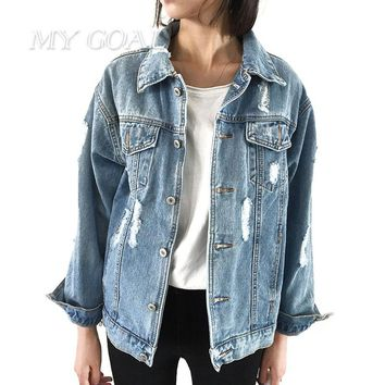 Women Basic Coats Autumn And Winter Women Denim Jacket Vintage Long Sleeve Loose Female Jeans Coat Casual Girls Outwear