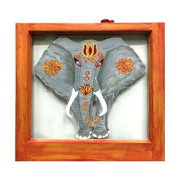Elephant - Vintage Painted Window Wall Decor 22-in