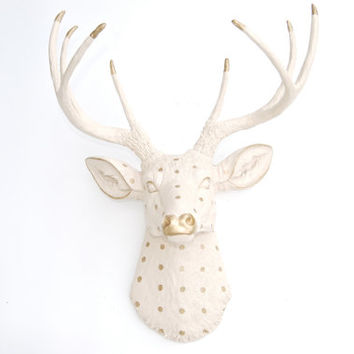 Faux Taxidermy - Ivory and Gold Dot Deer Head - Wall Mount D6253