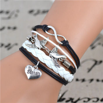 2017 Fashion Infinity love Birds sister Charm Bracelet Handwoven leather Bracelet Women Best Gift Christmas Gift