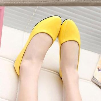 = NEW women Leather Shoes Woman Single Shoes Shallow Round Tow Spring Ballet Flats Shoes women casual shoes