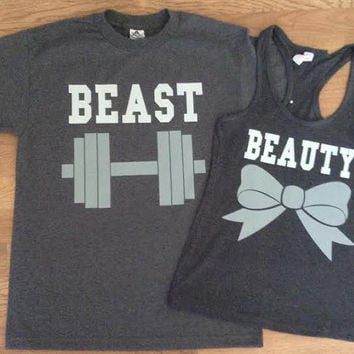 Free/Fast Shipping for US Beauty And The Beast Matching Couples Tank Tops/T Shirts: Charcoal Gray(White&Gray Decal)