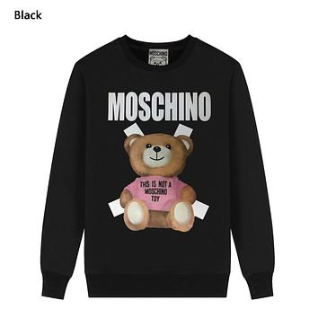 Moschino Autumn And Winter New Fashion Letter Bear Print Women Men Leisure Long Sleeve Top Sweater Black
