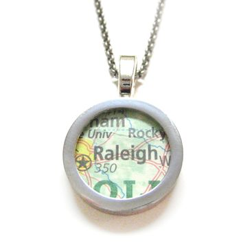 Raleigh North Carolina Map Pendant Necklace