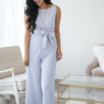 Angeline Blue Striped Jumpsuit
