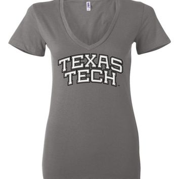 Official NCAA Texas Tech University Red Raiders TTU Masked Raider WRECK EM! Ladies Deep V-Neck - TEXT1049-A