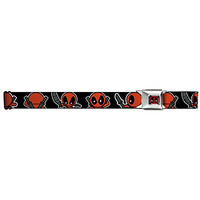 Marvel Deadpool Seatbelt Belt - Kawaii Deadpool Turning Poses Black Webbing