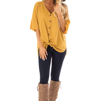 Mustard Button Up Top With Knot Tie Detail