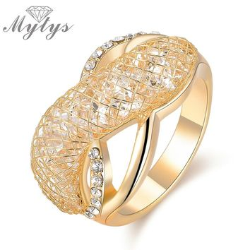Mytys Brand New Arrival Rings Trendy Fashion Lady Jewelry Accessory Gift Wire Mesh Net Inside Crystal Ring R1207