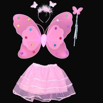 Halloween Butterfuly Wings Stage Party Cosplay Costume Fairy Girl Kid cartoon Wing Wand Headband Tutu Skirt Dress Set LF-M-00027