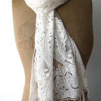 White and silver bridal deco style lace and net fringed scarf or shawl