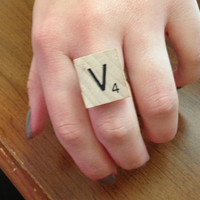 Scrabble initial ring by PaisleyRoseCreations on Etsy