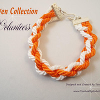Bracelet Woven Cord Jewelry / Collegiate Football Sports / Big Orange Volunteers / University of Tennessee / Silver Plated / Gift for Her