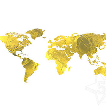 Gold World Map Poster.Gold World Map Dulcineia 38