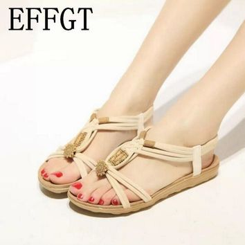 EFFGT NEW Summer Fashion Flip Flops Women's Beach Sandals String Bead Black Elastic Ba