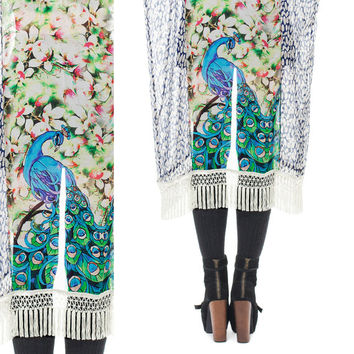 The Peacock Fringe Kimono - Jacket Style - One of a Kind