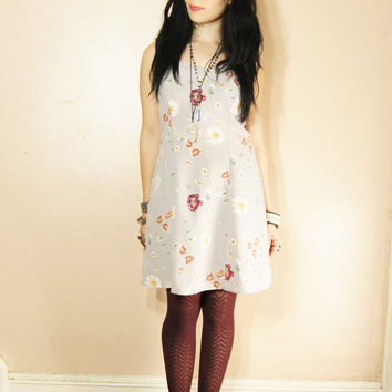 90s Grunge Floral Dress Small Medium Mini Dress Flirty Grey Pastel Fitted