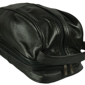 Mens Soft Calf Skin Leather Shaving Toiletry Bag