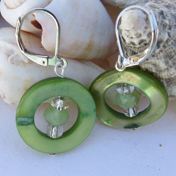 Peridot Shell Loop Earrings, Small Dangle Earrings, Drop Earrings