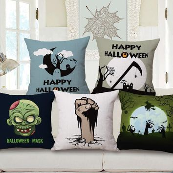 Happy Halloween Cushion Cover Horror Night Ghosts Skull Graveyard Witches Black Cat Pumpkin Cushion Covers Linen Pillow Case