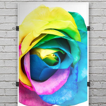 Rainbow Dyed Rose V1 - Ultra Rich Poster Print