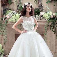 Newly arrived variety Princess Wedding Dress lace lace up the beading bridal gown  all size bridal dresses vestido de noiva 778