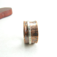 Copper and Sterling Silver Spinner Ring Large Size Ring Unisex Ring Size 11 Handmade Metal Jewelry