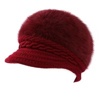 Womens Knitted Woolen Stripe Beanie Cap Elegant Ladies Hats Fashionable Comfortable Caps