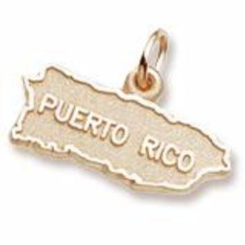 Puerto Rico Map Charm in Yellow Gold Plated