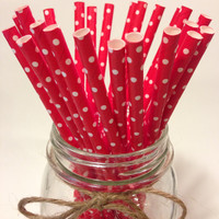 25 RED Polka Dot paper straws // baby bridal shower decorations / candy dessert buffet table // wedding // First birthday/new year party