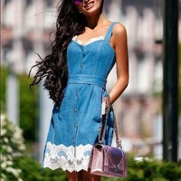 Streetstyle  Casual Blue Patchwork Lace Shoulder-Strap Single Breasted Cute Teens Overall Mini Dress