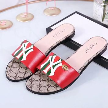 GUCCI & NY New Fashion High Quality Stripe Letter Print Leather Shoes Women Slippers Red