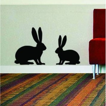 2 Rabbits Animal Design Rabbit Bunny Decal Sticker Wall Vinyl Decor Art