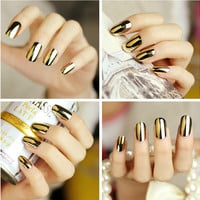 48pcs/lot Metallic Artificial Nails Fashion Stiletto Tips Gold Silver Color Fake Nails Sex Full French Nail Tips 12 Size etagere