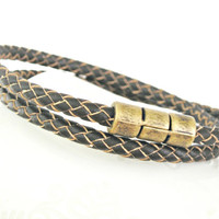 Double wrapped chocolate brown braided leather bracelet with brass color magnetic clasp