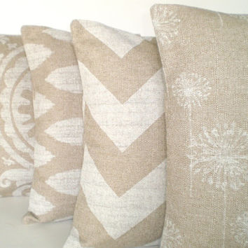 Pillows Decorative Throw Pillows Cushion Covers Natural Off White  Burlap Like BOTH SIDES   Combo