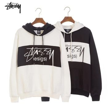 Stussy autumn and winter trend color matching loose plus velvet hoodie