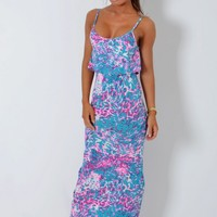 Coachella Neon Animal Print Frill Top Maxi Dress | Pink Boutique