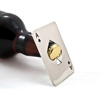 Card Poker Ace of Spades keychain can jar opener
