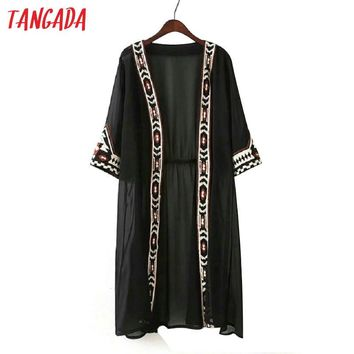 Tangada Women Chiffon Kimono Geometric Embroidery Collect Waist Long Jacket Coat Boho Fashion 2017 Sun Protection Coats YU8