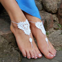 Crochet Beach Barefoot Sandals, Wedding Accessory