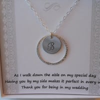 Bridesmaid Gift, Set of 3 Bridesmaid Necklaces, Personalized Initial Necklace, Sterling Silver Eternity Necklace, Maid of Honor Gift